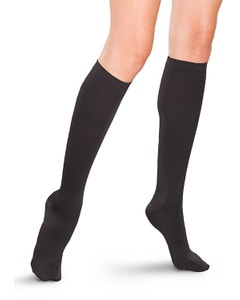 Therafirm 20-30 mmHg Closed Toe Ribbed Dress Knee High Compression Socks for Women